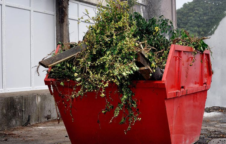 One of our skips filled with garden waste