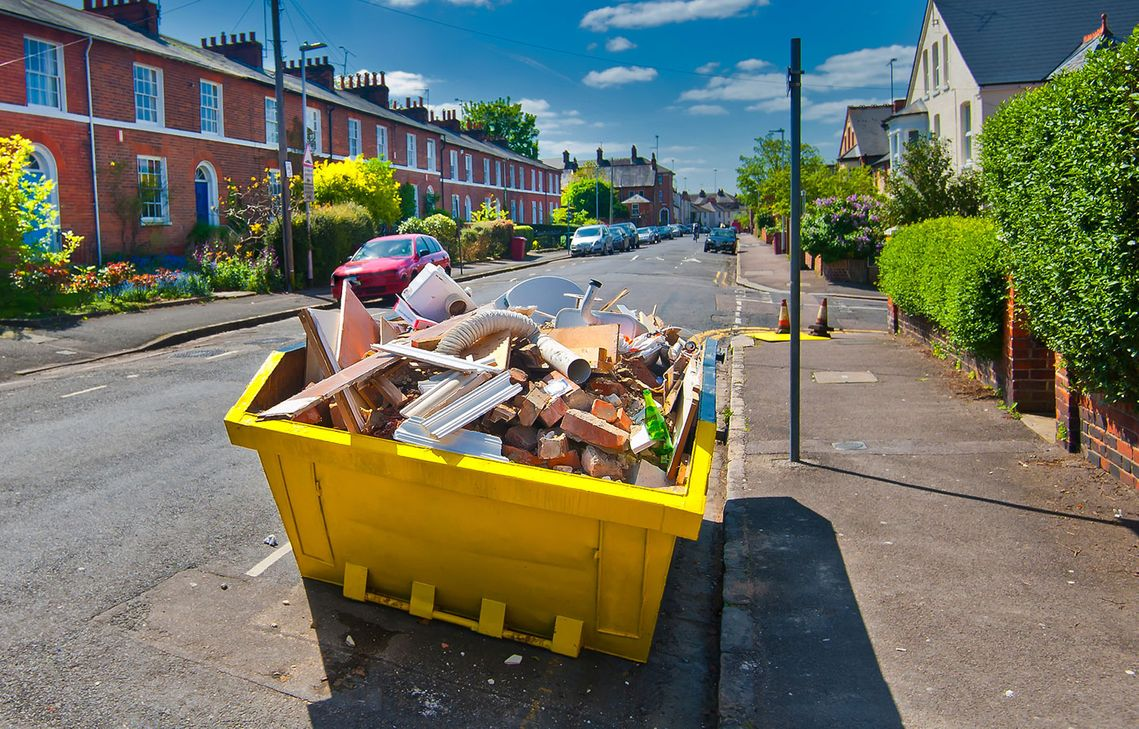 One of our skips on a resdientioal street